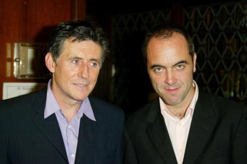 Gabriel Byrne and James Nesbitt at the Irish Arts Center Gala at The New York Athletic Club October 4, 2002.