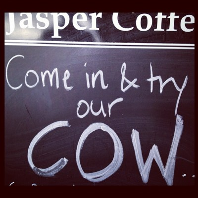 Haha at the sign !! #sign #jaspers #coffee #brunswickstreet  (Taken with Instagram at Jasper Coffee)