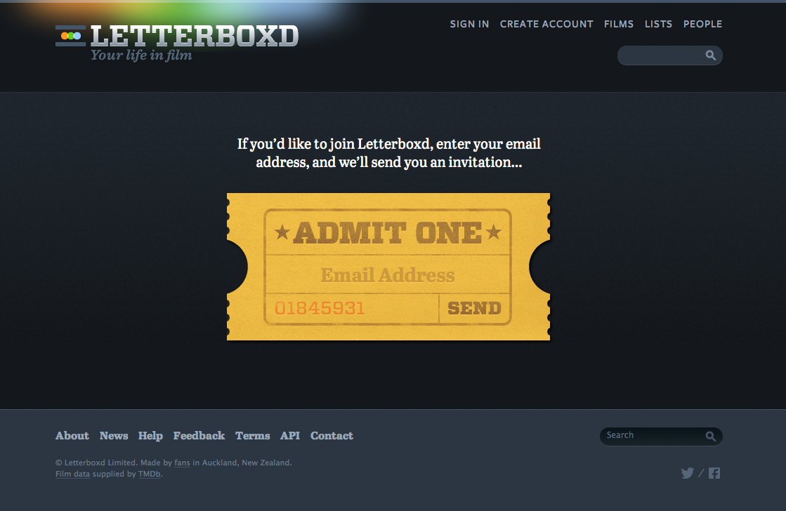A really nice invite request form on letterboxd.com. Fits the context.