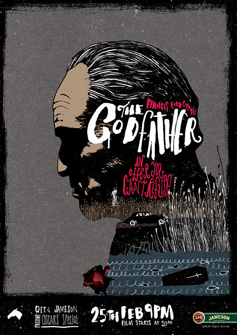 The Godfather minimal movie poster designed by Peter Strain