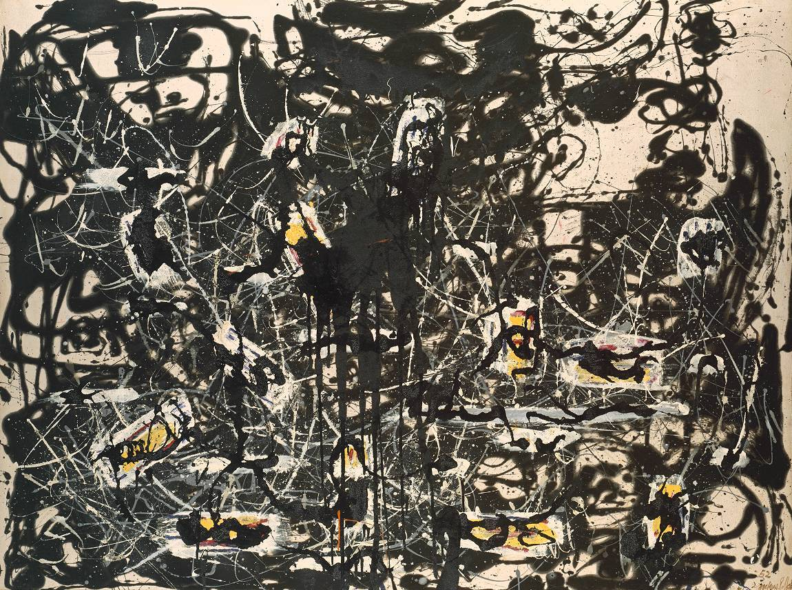 Jackson Pollock - Yellow Islands, 1952. Oil on canvas  From the Tate Gallery, London:  'When I am painting I am not much aware of what is taking place', Pollock said in 1947. By dripping and pouring paint, he was able to work in a free and intuitive way, his thoughts and feelings finding direct expression in the rhythmic patterns he created. Pollock began this painting by pouring black paint onto the canvas, over which he added areas of yellow and crimson with a brush. He then lifted the canvas upright while the paint was still wet, allowing it to sag and run.