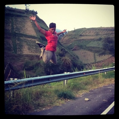 Jumpin to the top of the hill #me #myself #photooftheday #picoftheday #jump #surakarta #tawangmangu #instago #instapro #instagood #nike #high #hill  (Taken with Instagram)