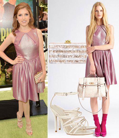 Anna Kendrick attends the 'ParaNorman' Premiere on Sunday in a Mulberry Resort 2013 dress, Herve Leger Odette leather sandals in US Khaki (£202.08, U.P. £432.46), an Edie Parker 'Jean' nude pearlescent clutch with white stripes and Kwiat jewellery