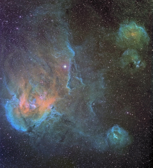 spacettf:  Running Chicken Nebula IC 2944 Widefield Mapped Color - March 2011 by Joseph Brimacombe on Flickr.