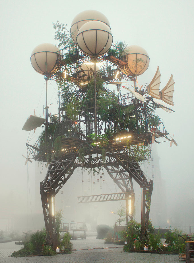 "The world-famous French group of artists ""La Machine"" installed this steampunk sculpture masterpiece in Dessau, Germany. Appropriately mysterious in the fog, this beautiful machine seems almost ready to launch."