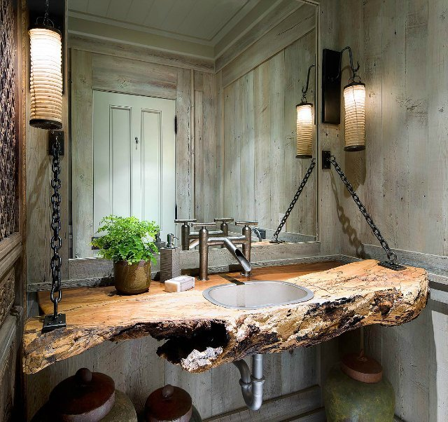 (via Fancy - Natural Wood Vanity)