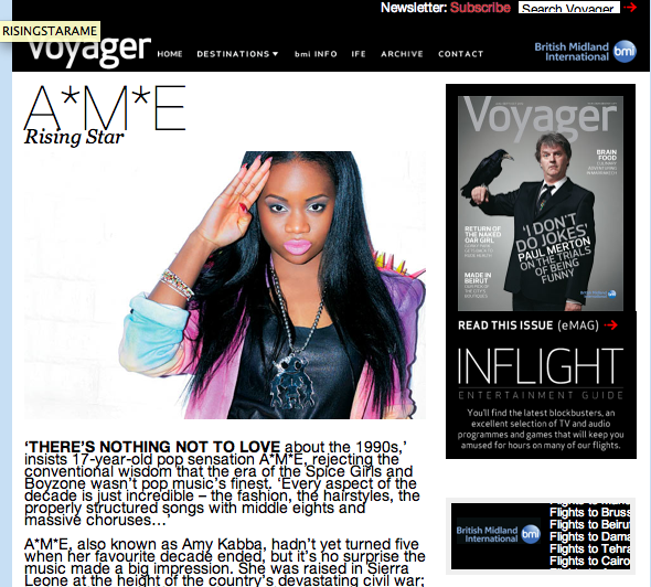 Just seen i'm in Voyager, the bmi inflight magazine :) Check it… x http://www.bmivoyager.com/2012/08/01/ame/