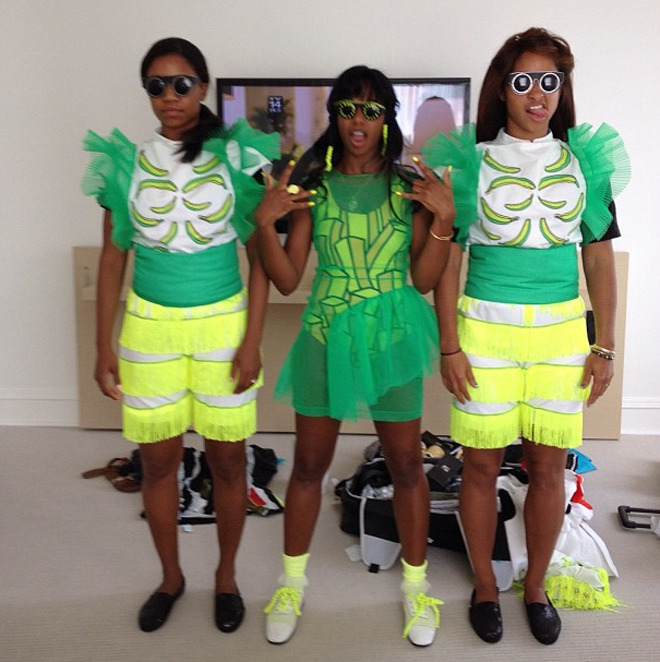 "Insta-Peep-o-Gram: Santigold Santigold is the eternal documenter of her world. Here she posts a backstage shot of Lollapalooza this past weekend on her Instagram. The caption reads: ""Me and my girls were trying on our new outfits"". If you missed the show, you missed a good time. Here's some CD's to hold you over 'til the next colorful concert."