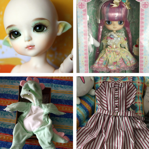 FOR SALE - Latidoll Yellow Limited Magician Ruki Fullset. - Dal Heart Macaron Mitsukazu Mihara x Angelic Pretty (NEW IN BOX). - Raurencio Studio Limited Baby Dino Costume (for YoSD, LittleFee and similar sizes) (NEW, NEVER USED). - Innocent World Luna Stripe JSK (NEW, NEVER USED). I have 100% positive feedback on eBay. Email me: sandy200[at]gmail[dot]com Thank you!