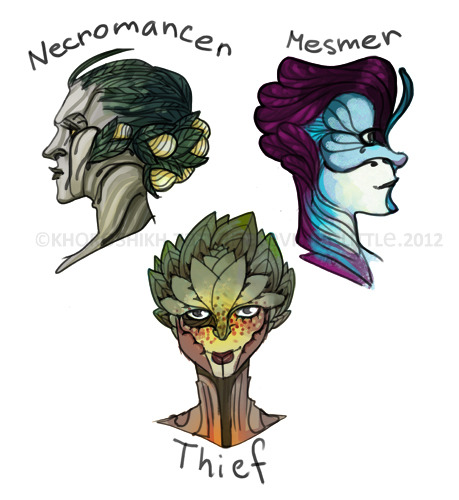 "evilthelittle:  sylvari heads) i loooooooove sylvari  concept. they are awesome. thoughts in my head are  ""i need to play it. play all sylvari classes!! and nords!!"" or ""55 euros!?are you mad?! you will pay lots of money to kill precious time"""
