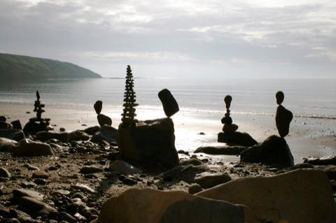 Filey Brigg stone balancing