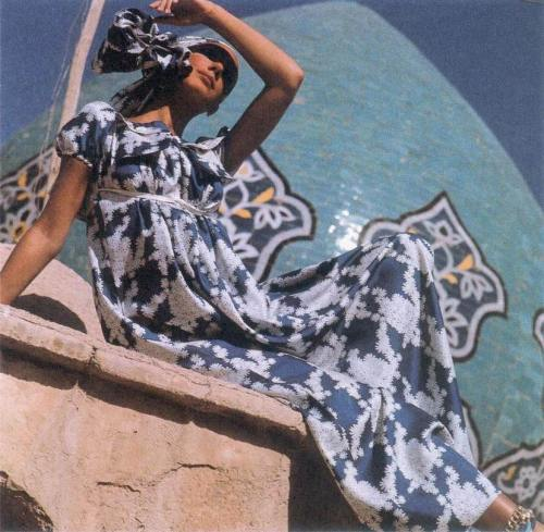 Marisa Berenson wearing a maxi dress and headscarf by Beene, 1969. Photo by Henry Clarke.