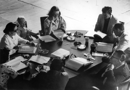 "Bette Davis, (Reading Script with Group), ""What Ever Happened to Baby Jane"", 1962, by Phil Stern."