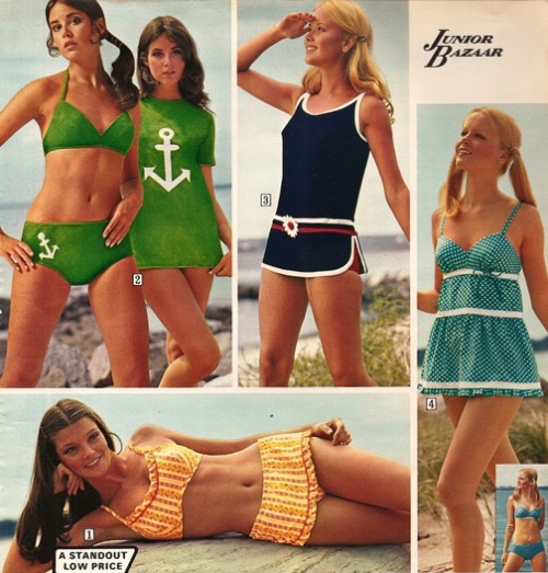 1970s teenage beach fashions from Sears.