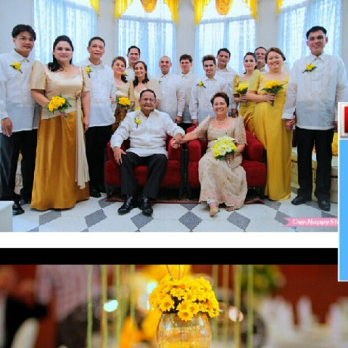 The Floirendo's golden wedding :) such an inspiring guys :) check the photos here: www.onehappystory.com #weddingphotographer #weddingphotography #weddings #goldenwedding #motif #ayalamall #onehappystory #photographer  (Taken with Instagram)