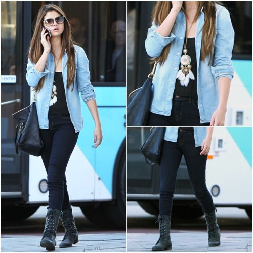 casual OUTFIT OF MONTH: July ♥ ‏ Selena wears: Topshop Oversized Stud Denim Shirt Louis Vuitton Lumineuse Tote Madden Girl Women's Gemiini Boots