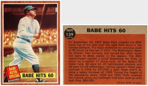 "Babe Hits 60 1962 Topps ""Babe Ruth Special"" Card No. 139"