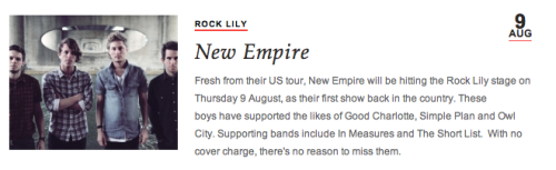 hannahempire:  New Empire. Thursday night.  Rock Lily. Level 1, Star Casino. Free entry. Be there. I will be.   YES PLEASE