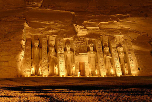 visitheworld:  Temple of Nefertari at night, Abu Simbel, Egypt (by RonyAngel).