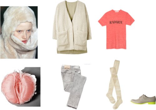 pomplemousse by daydream28 featuring kitten heelsRodarte crew neck t shirt / Opening Ceremony coat / Galliano / Wigwam  socks / Jil Sander kitten heels