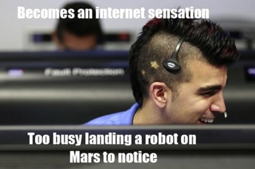 theatlantic:  The Curiosity Landing Already Has a Meme: NASA's 'Mohawk Guy' [Image: 9Gag.com]