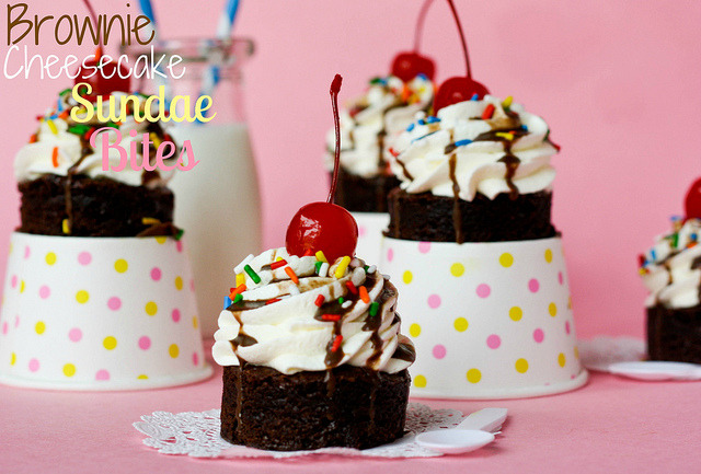 Brownie Cheesecake Sundae Bites