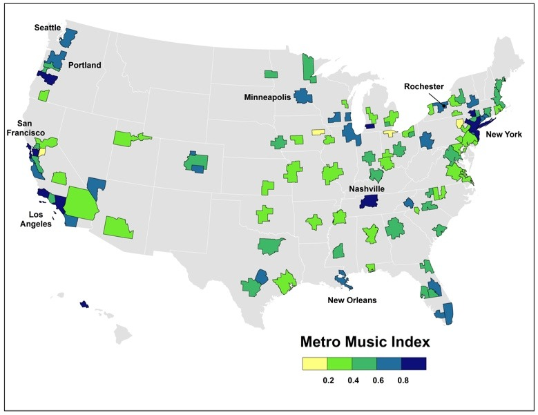 The Geography of America's Music Scenes   Numerous U.S. cities have staked claims as leading music centers. Seattle had its grunge, Chicago has electric blues, and Nashville its twang. Detroit was the birthplace of both Motown and the hard-edge distorted indie rock of The White Stripes. Austin has Stevie Ray Vaughn, Willie Nelson, and a host of legendary singer-songwriters. Then there's of course New Orleans jazz, brass, and funk; San Francisco's psychedelic sound; and the reverb-soaked rockabilly that is inextricably associated with Memphis's Sun Records.  Read more. [Image: Martin Prosperity Institute]