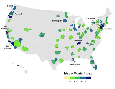 theatlantic:  The Geography of America's Music Scenes   Numerous U.S. cities have staked claims as leading music centers. Seattle had its grunge, Chicago has electric blues, and Nashville its twang. Detroit was the birthplace of both Motown and the hard-edge distorted indie rock of The White Stripes. Austin has Stevie Ray Vaughn, Willie Nelson, and a host of legendary singer-songwriters. Then there's of course New Orleans jazz, brass, and funk; San Francisco's psychedelic sound; and the reverb-soaked rockabilly that is inextricably associated with Memphis's Sun Records.  Read more. [Martin Prosperity Institute]