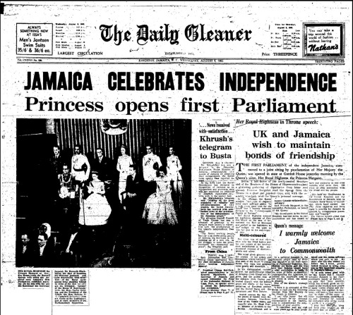 HAPPY 50TH JAMAICA! img: front page of Jamaican national newspaper The Daily Gleaner, 8th August 1962