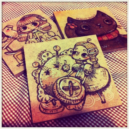 Draw on wood