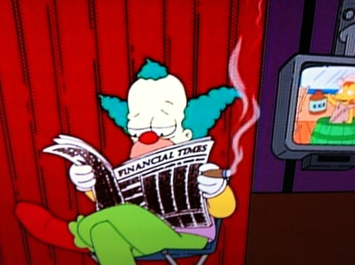 lisasimpsonbookclub:  Krusty reads FT, naturally.