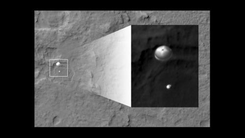 mrsdfsneezy:  jtotheizzoe:  jtotheizzoe:  Whoa! The Curiosity rover parachute descent captured by the Mars Reconnaissance Orbiter! A spacecraft, orbiting another planet, captured a picture of another spacecraft landing on that planet. This isn't the first time it has gotten a shot like this. (image by NASA/JPL)  Updated with a higher-res photo showing the surrounding Martian terrain.  AUTOMATIC REBLOG.  This is incredible.