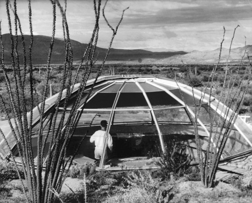 Exterior of completed Dome House with Paolo Soleri inside, 1949. From Conversation with Paolo Soleri.