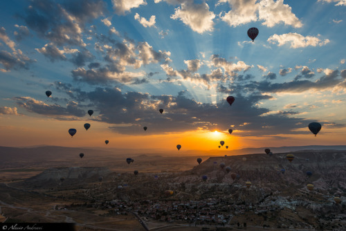 """Dawn of the Balloons"" by Alessio Andreani Balloons at dawn in Cappadocia. Taken from another balloon at about 500 meters."