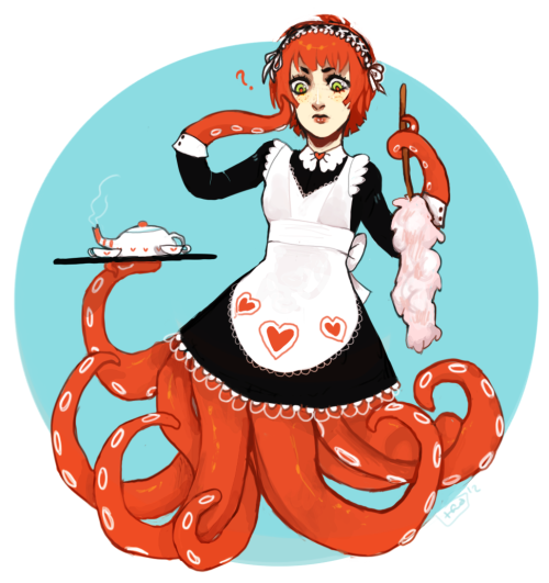 toxicratbatman:  Day 8: Octomaid Shes a maid at a big mansion in the ocean. Her job is pretty much serving foob and taking care of the pets there - still she wonders why she has to wear these things. The truth is, the master of the mansion has a maid fetish.