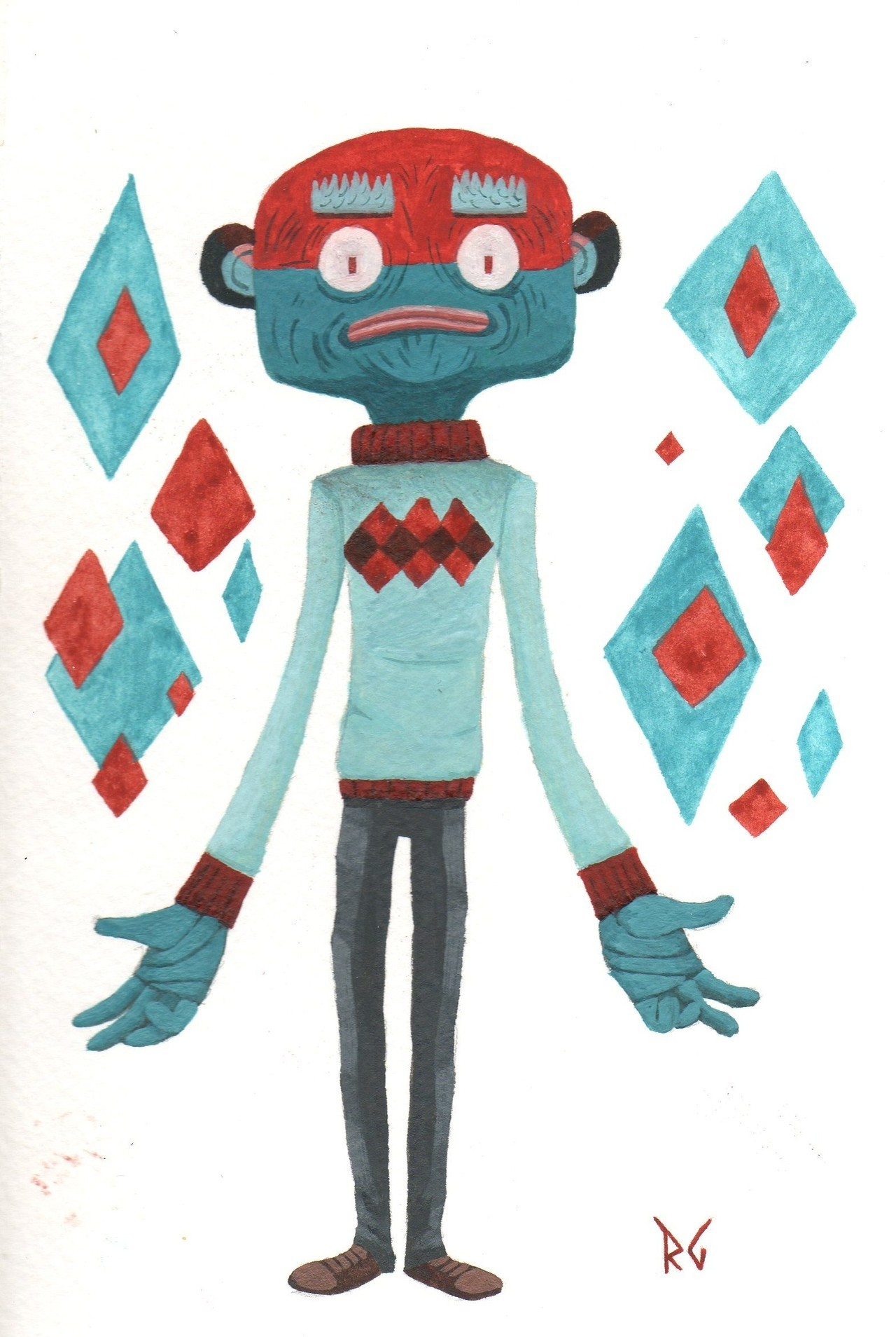eatsleepdraw:  Psychokinetic Sweater dude. Gouache on watercolor paper. My Tumblr.
