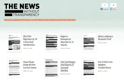 motherjones:  sunfoundation:  The News Without Transparency  Giving you a glimpse of the news in a world without public access to government information.   Well in other news, the Senate wants the make the government less transparent.  FJP: Read through to see what data sources are used for different types of stories. Nicely done, Sun Foundation.