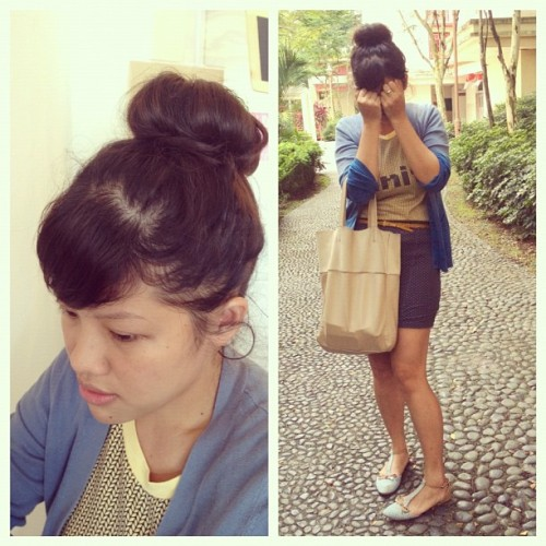 #ootd x #StyleMeAugust / the mane event // Hair in a top bun, with a boost from a donut-shaped sponge.  (Taken with Instagram)