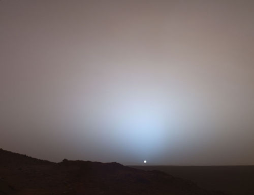 This photo of a Martian sunset that keeps going around today did not come from Curiosity. This came from the Spirit rover in 2005. This is not the first time we've put a robot on the moon. It's at least the seventh. Curiosity is very cool, but it is not the first.