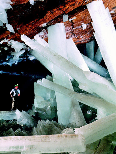 """Mexico's Cave of Crystals contains some of the world's largest known natural crystals—translucent beams of gypsum as long as 36 feet (11 meters). A new study says the gems reached their vast sizes thanks to a peculiar combination of consistent volcanic heat and a rich watery mixture."" -National Geographic"
