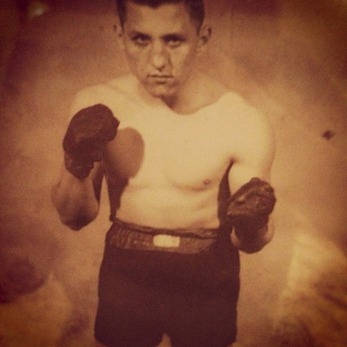 "My grandfather in his boxing days. The hand-written note to my grandmother reads, ""To My One and Only 'Tootsie' Yours Truly 'Joe Modzele'"" (Taken with Instagram)"