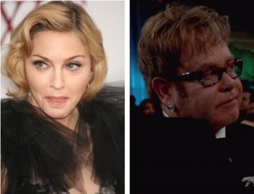 "More bad words thrown in the interesting feud between Elton John and Madonna. In a recent interview, Elton became bristled when asked about Madonna's recent actions and his response: ""She's such a nightmare. Her career's over… she looks like a f—king fairground stripper."""
