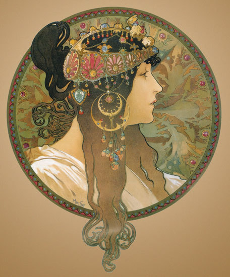 Alphonse Mucha, Byzantine Head: The Brunette, 1897.