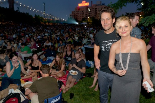 Paul Rudd and Amy Poehler at a screening of Wet Hot American Summer.