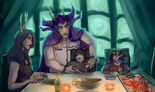 For the anon that asked for more Serket-Ampora pir8 family with dualscar cutting up vriska's food and eridan with kiddy orange juice. Taking your kismesis and the kids out for a fancy dinner is a regrettable decision.