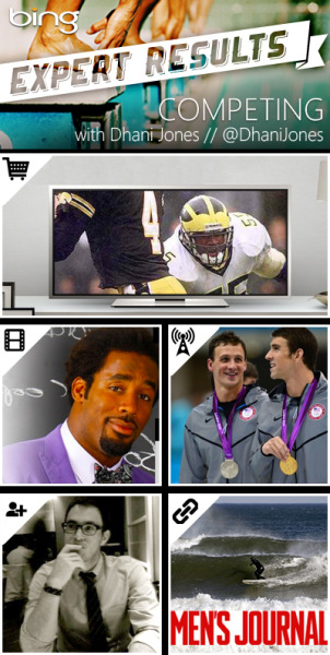 These MVP-worthy picks from Competing Expert Dhani Jones are sure to score you a varsity letter (or a Heisman). SHOPPING // VIZIOThe best way to watch games is on a TV like this.  VIDEO // Getting My Game On with LaMarr WoodleySizing up the competition in 2012's NFL draft with Steelers' linebacker, LaMarr Woodley.  NEWS ARTICLE // Men's Swimming CoverageI'm definitely rooting for my friend Michael Phelps to represent the USA.  FRIENDS WHO KNOW // @jordancohenYou can always count on a cousin for kind words and sound advice. BLOG // MEN'S JOURNALThis blog is always a win. It keeps me in the loop on all things adventure, travel and gear.  Keep the game going with Dhani here.