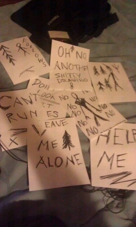 f-r-o-s-t-m-o-u-r-n-e:  My friends and i will play slender in the woods.  Hahaha 'Oh no another shitty drawing' xDD