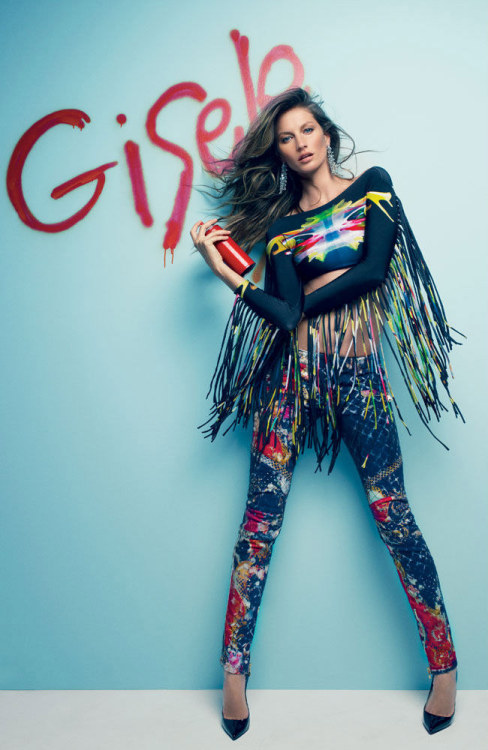 Gisele Bunchen x Vogue Brazil July -Fun and eclectic! Spray paint and Neon Colours! These images are colourful splashes of fun!