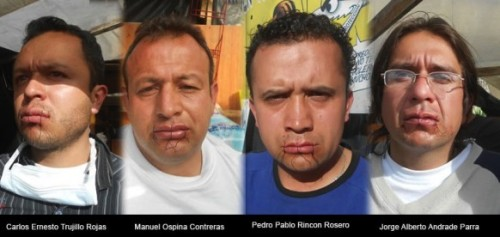 "fuckyeahmarxismleninism:  Colombian Workers Sew Their Mouths Shut To Protest GM Firing Tactics Four former GM plant workers in Colombia have sewn their lips together as part of an indefinite hunger strike in a final attempt to resolve the ongoing practice of debilitating workplace conditions and subsequent reactionary measures by the automaker. Organized by the association of workers and ex-workers (ASOTRECOL), the protest revolves around the plant's practice of firing injured workers for injuries they received on the job, shortly after the company detected their injuries in its medical facilities. Workers' injuries stem from repetitive movements, lifting excessive weights, harmful body postures, and an accelerated work pace on the assembly line. On August 1, 2012, several workers from the plant will have already been peacefully protesting for one year in front of the U.S. Embassy in Colombia. Videos created by ASOTRECOL state that the practice has been occurring for up to 25 years, affecting thousands of workers. In addition, the plant has dismissed at least one worker for having organized an association defending workers' rights and building awareness of the situation. ""To symbolize their commitment to this hunger strike and to the justice that they are seeking, they will be sewing their mouths closed and plan to carry out the hunger strike to the death,"" ASOTRECOL announced in a statement. Protesters are seeking justice in the form of compensation, medical care, reintegration into the company, or re-training for other jobs."