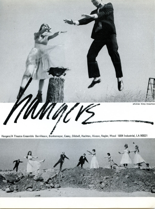Hangers: A Performance || Birds on Pedestals with Bomber Ladies May 23, 1981 - This was a performance by a collaborative group composed of three dancer/choreographers, three visual artists and two actors that manipulated autobiographical material and examined medial versions of the assassination attempt on Bernadette Devlin. Performers included: Mooli ten Tusscher-Adams, Paul Herman, Joyce Wexler-Ballard, Lin Hixon, Wilson Barrilleaux, Anna Homler, Pamela Casey, Douglas Humble, Molly Cleator, Steve Nagler, Jane Dibbell, Tobi Redlich, Julian Dibbell, Mary Reid, Christine Fluor, and Ron Wood. This flyer was included on the ephemera wall at LACE in Hollywood, CA as part of Los Angeles Goes Live: Performance Art in Southern California.